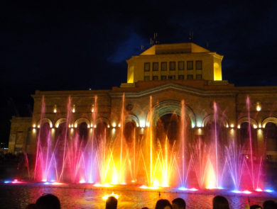 Republic square, dancing fountains