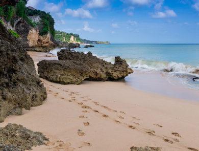 The secret beach among the rocks