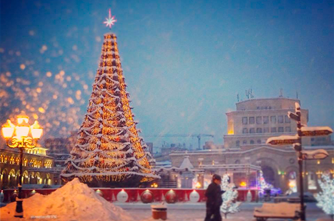 Republic Square during the holidays