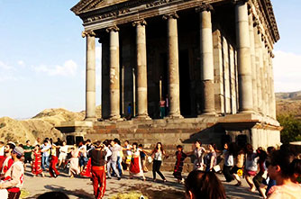 Vardavar festival near the pagan temple of Garni