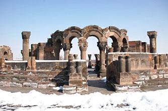 Zvartnots monastery in winter